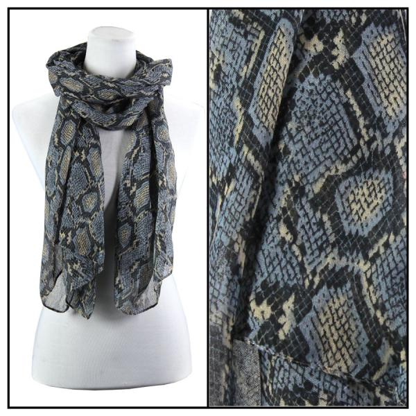 wholesale Cotton Feel Oblong Summer Scarves  Reptile Print 4116 - Grey -