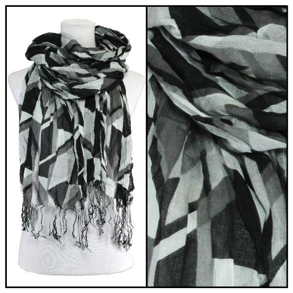 wholesale Cotton Feel Oblong Summer Scarves  Abstract 1023 - Black-Grey -