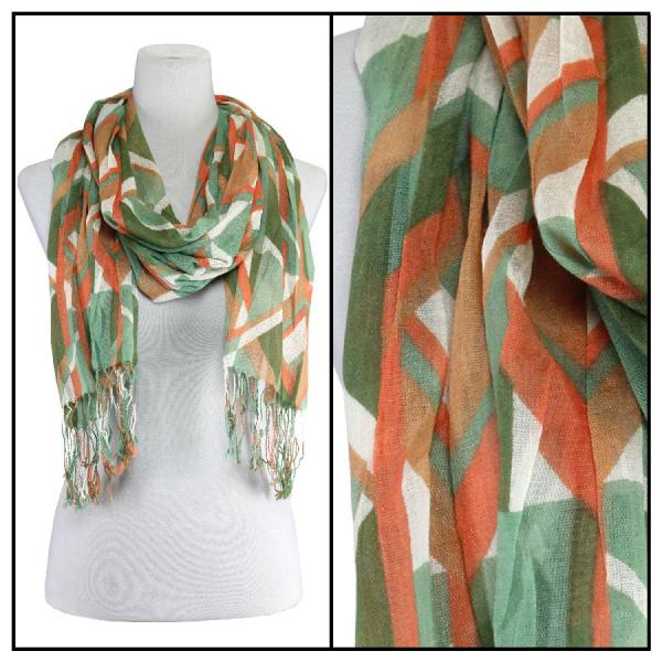 wholesale Cotton Feel Oblong Summer Scarves  Abstract 1023 - Green-Orange Cotton Feel Oblong Summer Scarf -