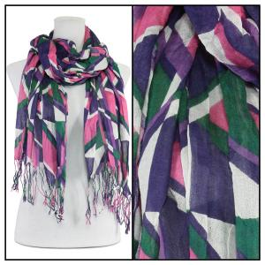 Wholesale  Abstract 1023 - Multi Cotton Feel Oblong Summer Scarf -
