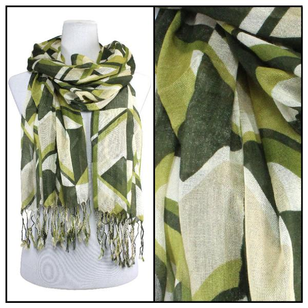 wholesale Cotton Feel Oblong Summer Scarves  Abstract 1023 - Olive -
