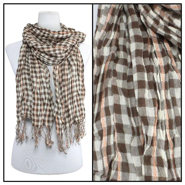 wholesale Cotton Feel Oblong Summer Scarves  Crinkle Plaid 1021 - Brown -