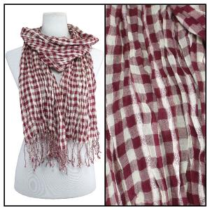 Wholesale  Crinkle Plaid 1021 - Red Cotton Feel Oblong Summer Scarf -