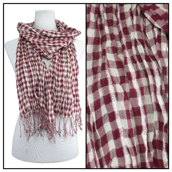 wholesale Cotton Feel Oblong Summer Scarves  Crinkle Plaid 1021 - Red Cotton Feel Oblong Summer Scarf -