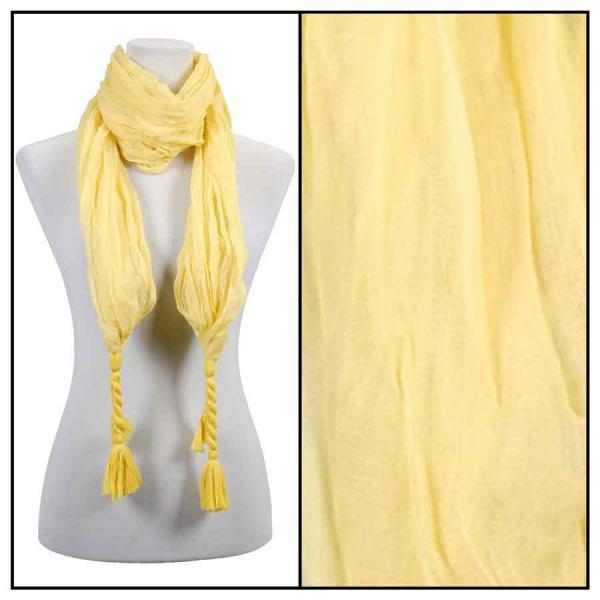 wholesale Cotton Feel Oblong Summer Scarves  Crinkle Oblong with Tassel - Yellow -