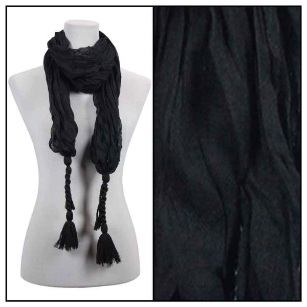 wholesale Cotton Feel Oblong Summer Scarves  Crinkle Oblong with Tassel - Black Cotton Feel Oblong Summer Scarf -