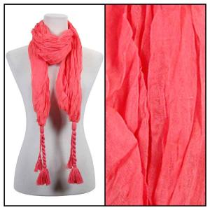 Wholesale  Crinkle Oblong with Tassel - Coral Cotton Feel Oblong Summer Scarf -