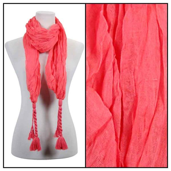 wholesale Cotton Feel Oblong Summer Scarves  Crinkle Oblong with Tassel - Coral Cotton Feel Oblong Summer Scarf -