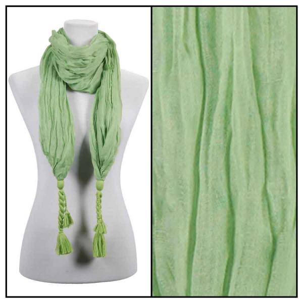 wholesale Cotton Feel Oblong Summer Scarves  Crinkle Oblong with Tassel - Sage Cotton Feel Oblong Summer Scarf -