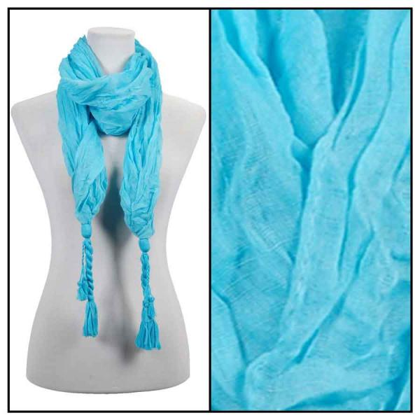 wholesale Cotton Feel Oblong Summer Scarves  Crinkle Oblong with Tassel - Sky Blue Cotton Feel Oblong Summer Scarf -
