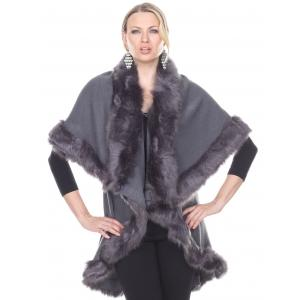 wholesale Cape Vests - Fur JP216 Grey -