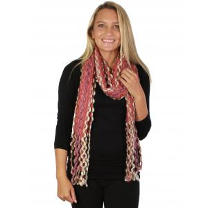 wholesale Oblong Scarves - Long Puffy Wave 2001 Pink -