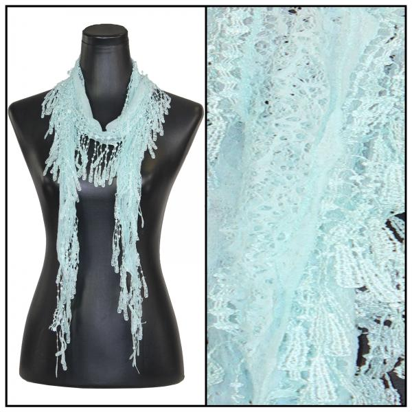Oblong Scarves - Victorian Lace Confetti Light Aqua #22* -