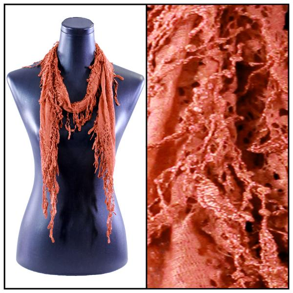 Oblong Scarves - Victorian Lace Confetti Burnt Orange #37 -