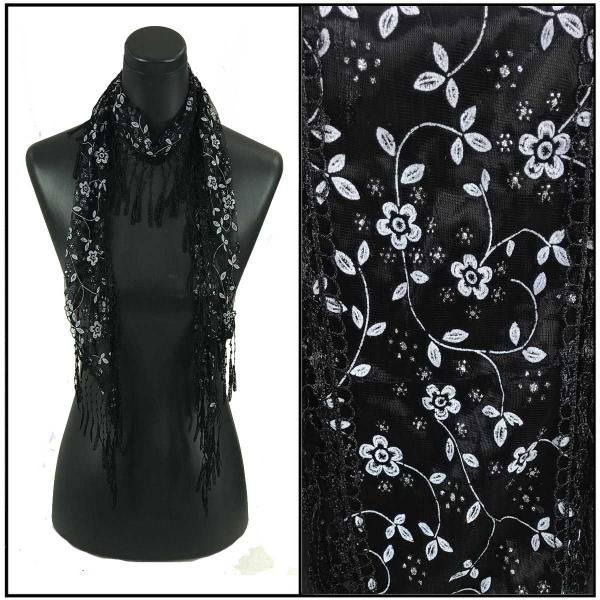 Oblong Scarves - Victorian Lace Confetti Print A1 Black w/ White Flowers and Sparkle #46 -