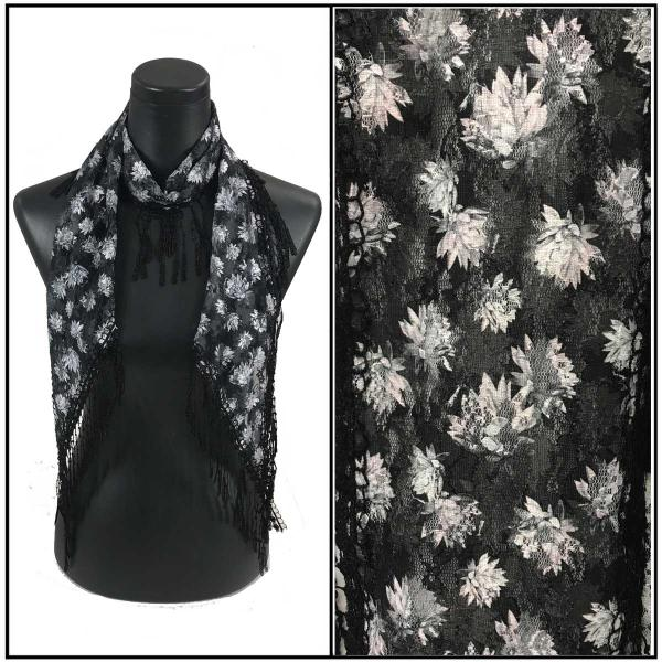 Oblong Scarves - Victorian Lace Confetti Print A2 Black with Grey Flowers -