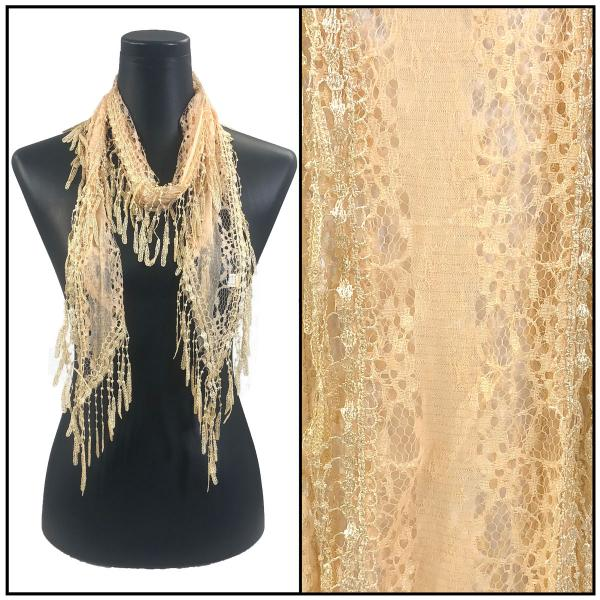 Oblong Scarves - Victorian Lace Confetti Light Apricot -
