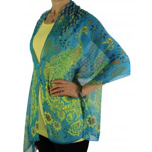 wholesale Silky Button Shawl (Two Button Chiffon) #506 Turquoise (Peacock Abstract)(MB) -