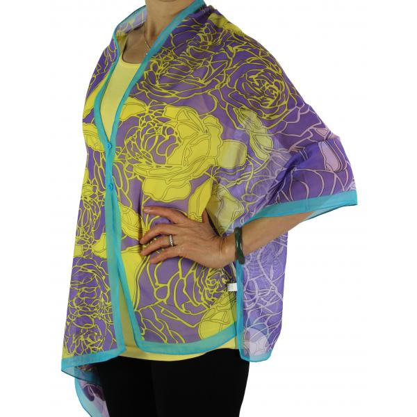 Silky Button Shawl (Two Button Chiffon) #010 Purple-Teal -