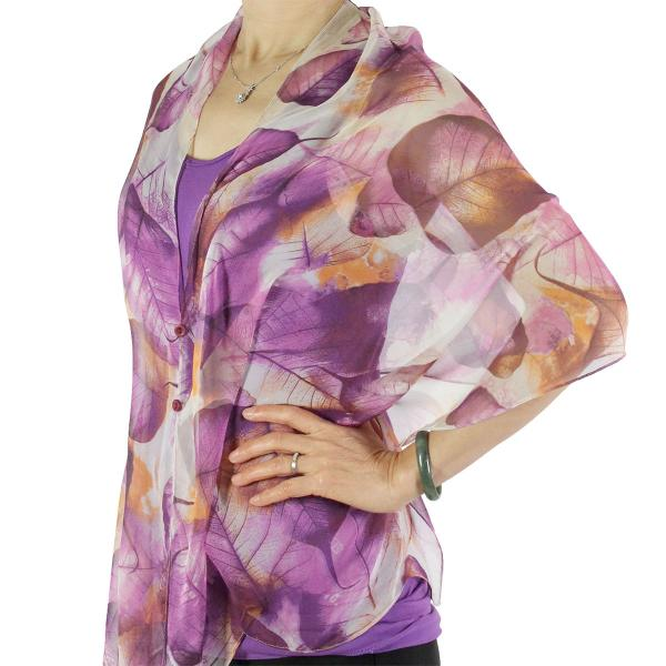 Silky Button Shawl (Two Button Chiffon) #129 Purple (Leaves) -