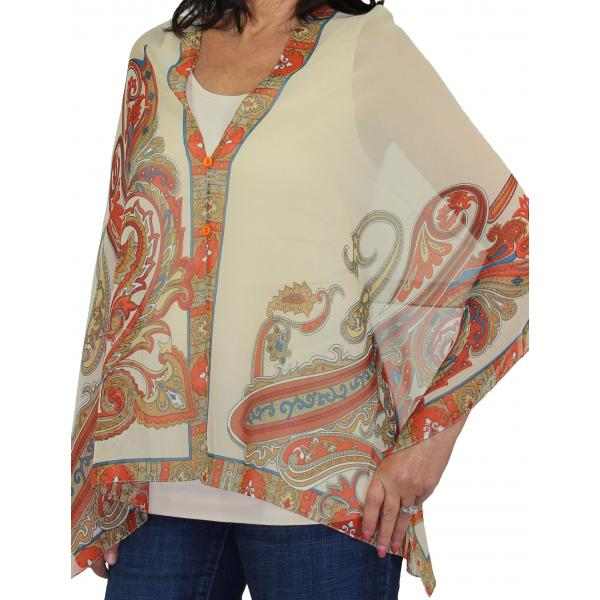Silky Button Shawl (Two Button Chiffon) #184 Beige (Paisley Serpentine) -