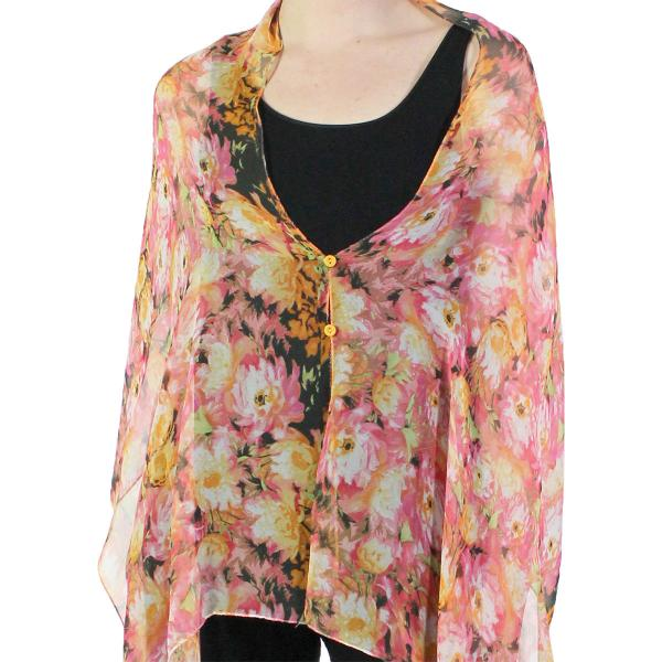 Silky Button Shawl (Two Button Chiffon) #120-08 (Floral Splatter) -
