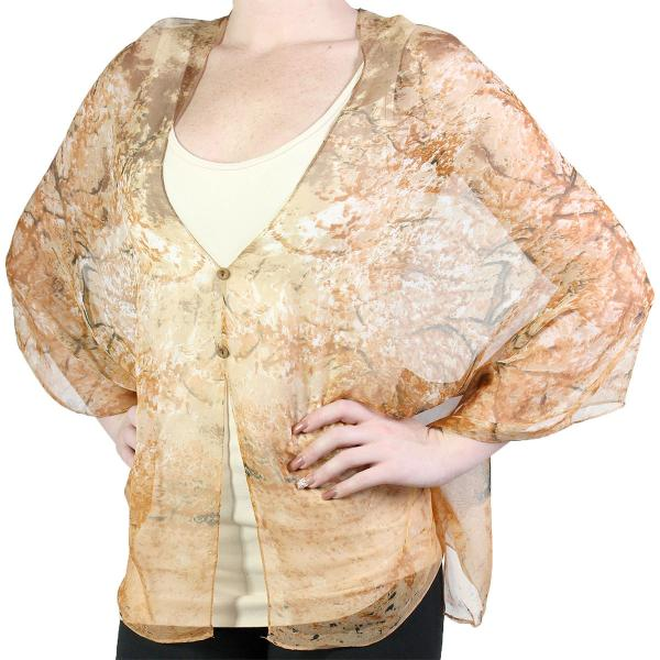 Silky Button Shawl (Two Button Chiffon) #128 Brown (Trees) (MB) -