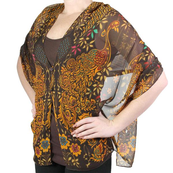 Silky Button Shawl (Two Button Chiffon) #506 Brown (Peacock Abstract (MB) -
