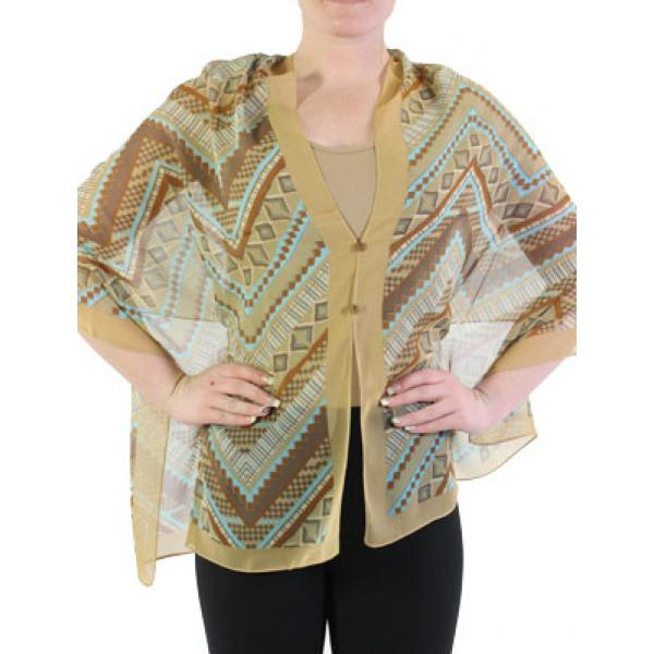 Silky Button Shawl (Two Button Chiffon) #102 Taupe (Zig Zag) -