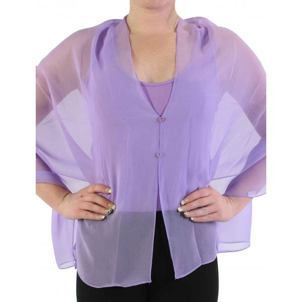 Silky Button Shawl (Two Button Chiffon) Solid Lavender -