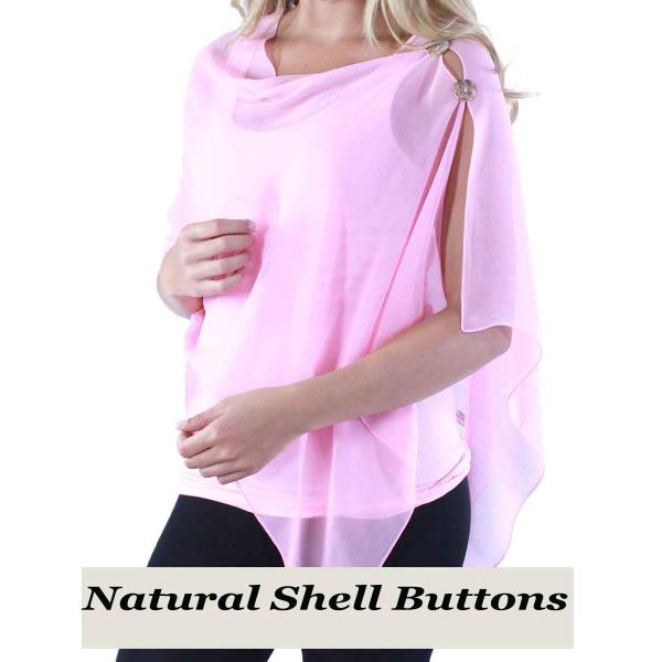 Silky Button Shawl (Two Button Chiffon) Natural Shell Buttons Solid Raspberry -