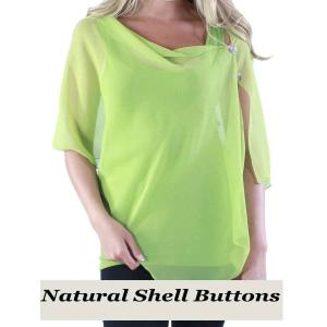 wholesale Silky Button Shawl (Two Button Chiffon) Natural Shell Buttons Solid Leaf Green  -