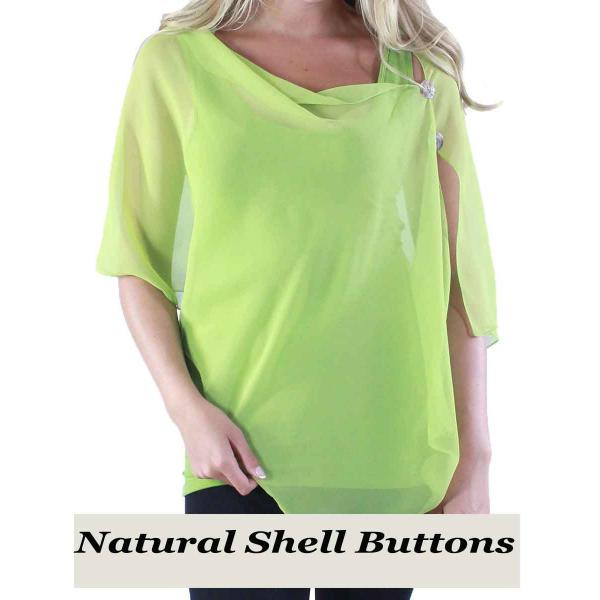 Silky Button Shawl (Two Button Chiffon) Natural Shell Buttons Solid Leaf Green  -