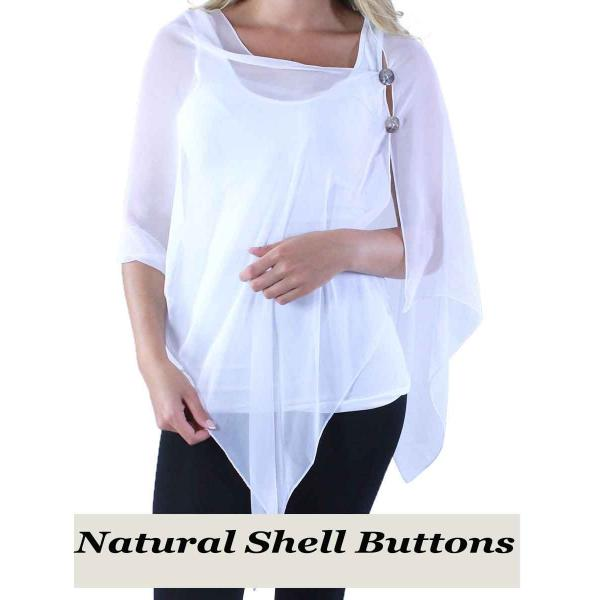 Silky Button Shawl (Two Button Chiffon) Natural Shell Buttons Solid White  -