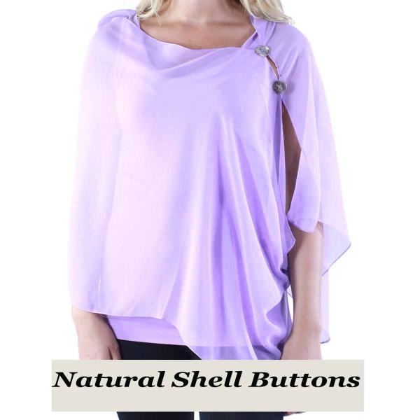 Silky Button Shawl (Two Button Chiffon) Natural Shell Buttons Solid Lavender  -