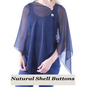 wholesale Silky Button Shawl (Two Button Chiffon) Natural Shell Buttons Solid Navy  -