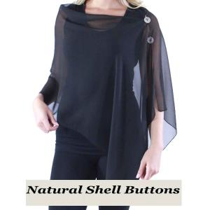 wholesale Silky Button Shawl (Two Button Chiffon) Natural Shell Buttons Solid Black  -