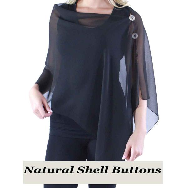 Silky Button Shawl (Two Button Chiffon) Natural Shell Buttons Solid Black  -