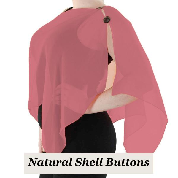 Silky Button Shawl (Two Button Chiffon) Natural Shell Buttons Solid Coral -