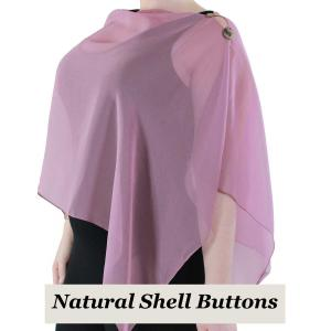 wholesale Silky Button Shawl (Two Button Chiffon) Natural Shell Buttons Solid Dusty Purple  -