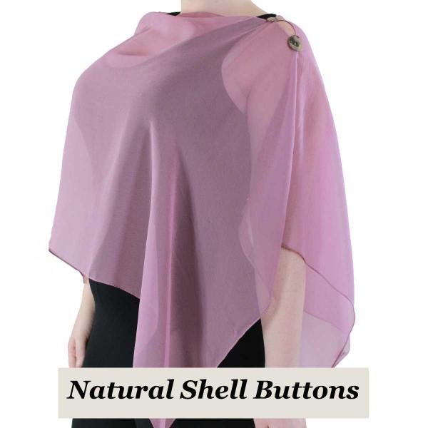 Silky Button Shawl (Two Button Chiffon) Natural Shell Buttons Solid Dusty Purple  -