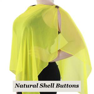 wholesale Silky Button Shawl (Two Button Chiffon) Natural Shell Buttons Solid Yellow -