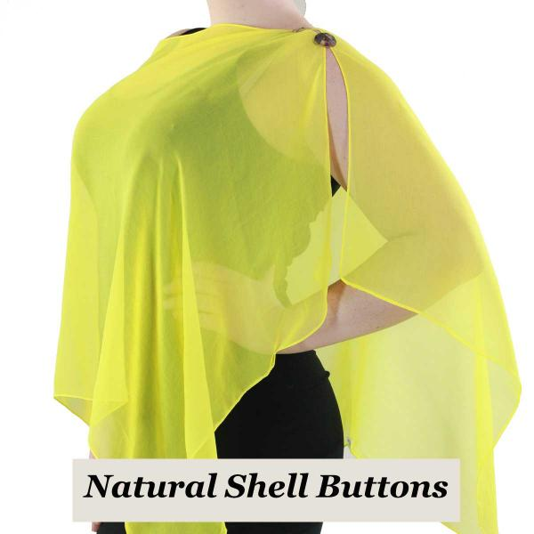 Silky Button Shawl (Two Button Chiffon) Natural Shell Buttons Solid Yellow -
