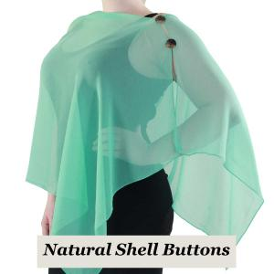 wholesale Silky Button Shawl (Two Button Chiffon) Natural Shell Buttons Solid Jade -
