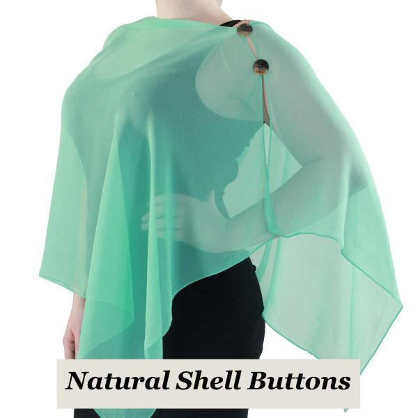 Silky Button Shawl (Two Button Chiffon) Natural Shell Buttons Solid Jade -