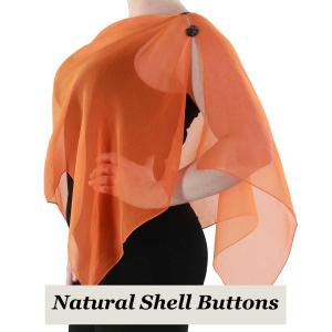 wholesale Silky Button Shawl (Two Button Chiffon) Natural Shell Buttons Solid Orange (MB) -