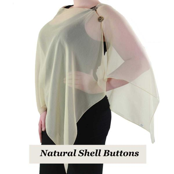 Silky Button Shawl (Two Button Chiffon) Natural Shell Buttons Solid Tan  -