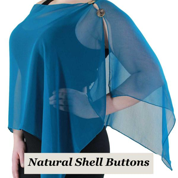 Silky Button Shawl (Two Button Chiffon) Natural Shell Buttons Solid Teal  -