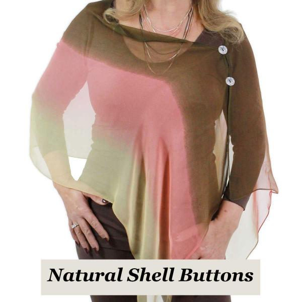 Silky Button Shawl (Two Button Chiffon) Natural Shell Buttons #106 Brown-Coral-Tan (Tri-Color)  -