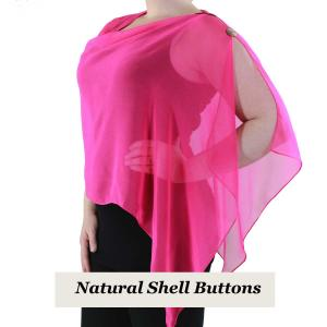 wholesale Silky Button Shawl (Two Button Chiffon) Natural Shell Buttons Solid Magenta  -